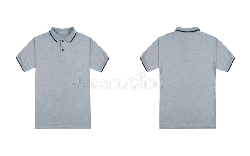 Blank plain polo shirt heather grey white stripe color isolated on white background. bundle pack polo shirt front and back view royalty free stock photos