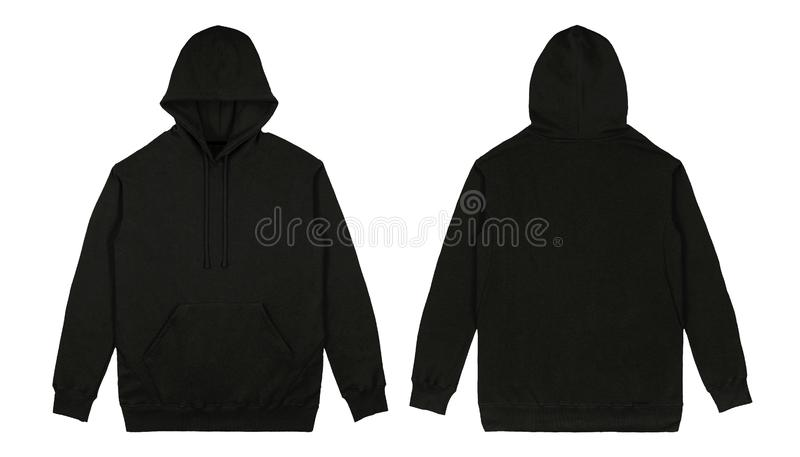 Blank plain Pullover hoodie front and back view with black color, isolated on white background, ready for your mock up royalty free stock images