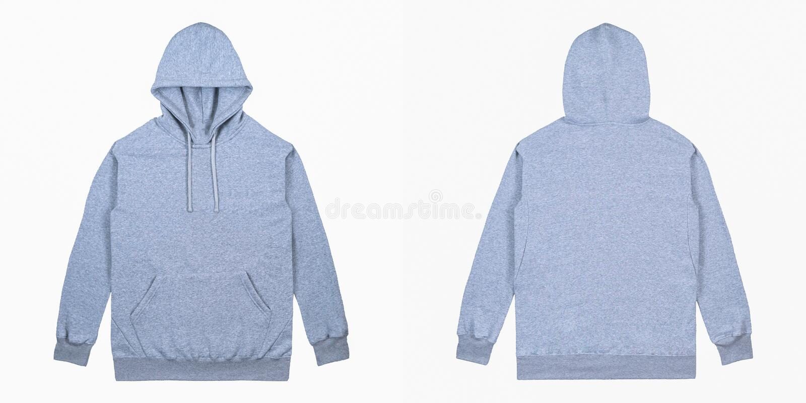 Blank plain Pullover hoodie front and back view with heather grey color, isolated on white background, ready for your mock up royalty free stock images