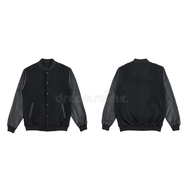 Blank plain varsity jacket front and back view bundle pack black color isolated on white background. ready for your mock up design. Or presentation your project stock photo