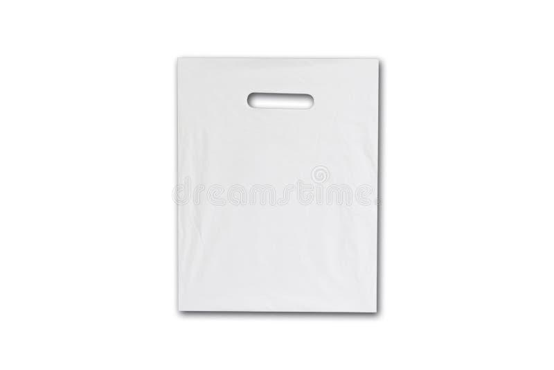 Blank plastic bag mock up isolated on white. Empty white polyethylene package mockup. Consumer pack ready for logo design or royalty free stock photo