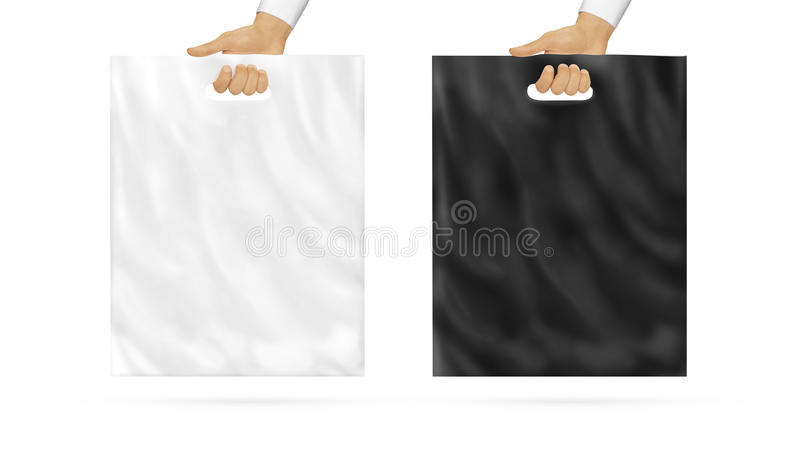 Blank plastic bag mock up set holding in hand. Empty polyethylene package mockup, black and white, hold in arms isolated. Consumer pack ready for logo or stock photography