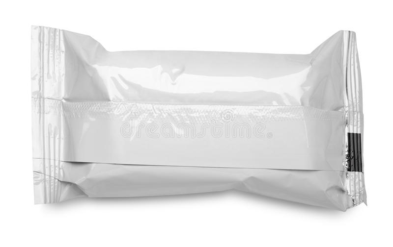 Blank plastic food packaging on white stock photo