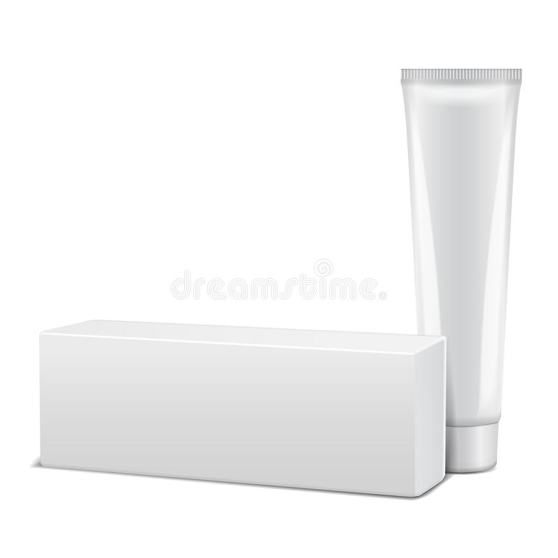 Blank plastic tube with white box for medicine or cosmetics - cream, gel, skin care, toothpaste. Packaging mockup. Template for your design royalty free illustration