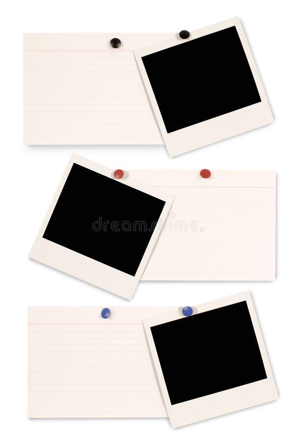 Three polaroid frame photo prints index cards row vertical. Three blank polaroid instant camera photo prints and white office index cards isolated on a white royalty free stock photos