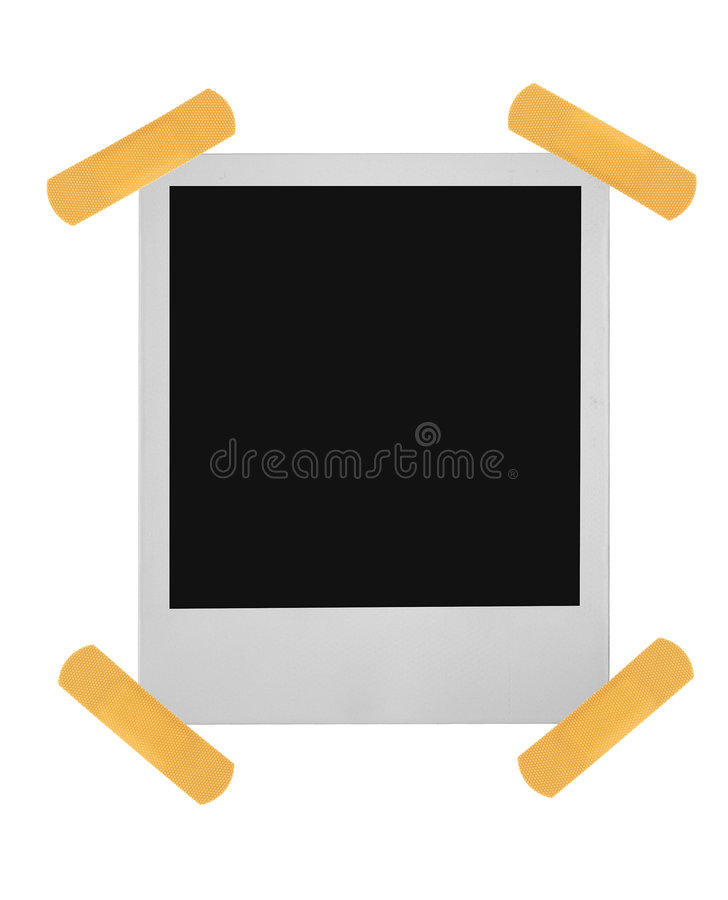 Blank photo frame stuck with sticky plaster stock photo