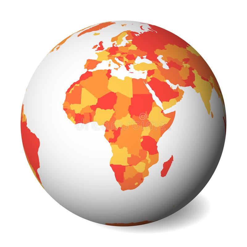 Blank political map of Africa. 3D Earth globe with orange map. Vector illustration stock illustration