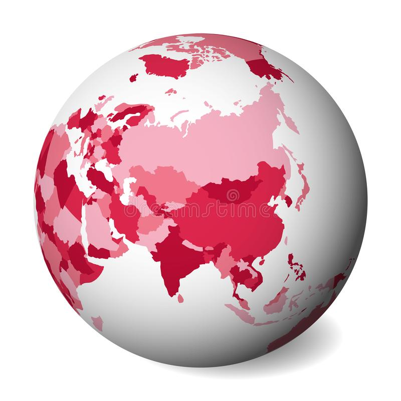 Blank political map of Asia. 3D Earth globe with pink map. Vector illustration.  stock illustration