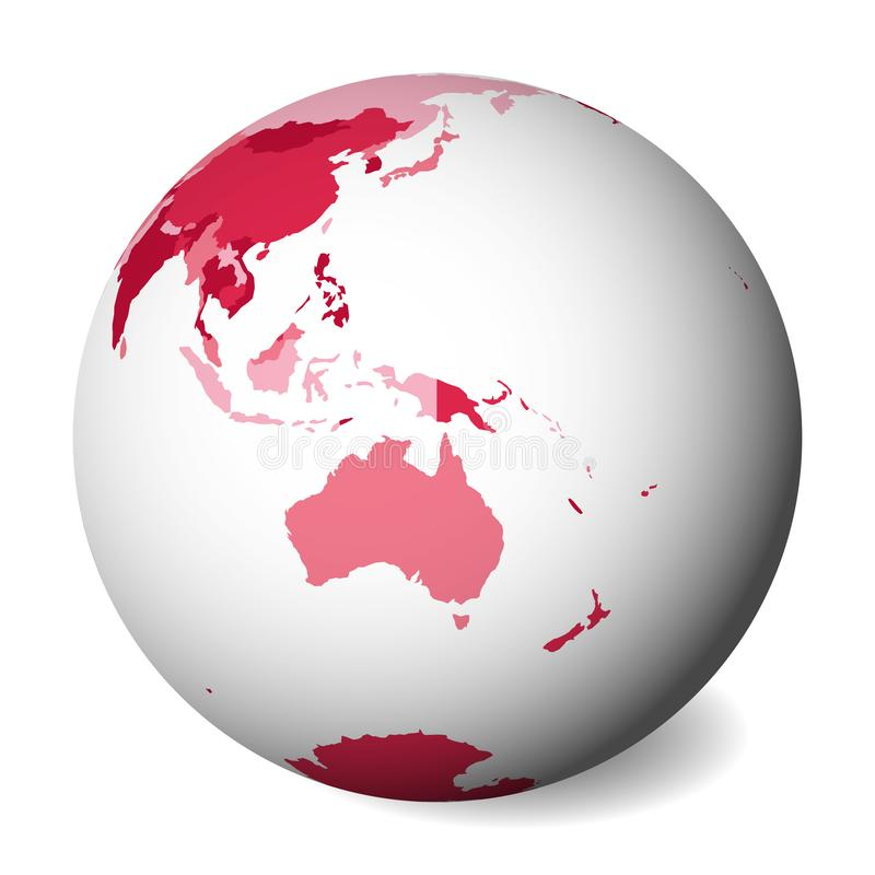 Blank political map of Australia. 3D Earth globe with pink map. Vector illustration.  stock illustration
