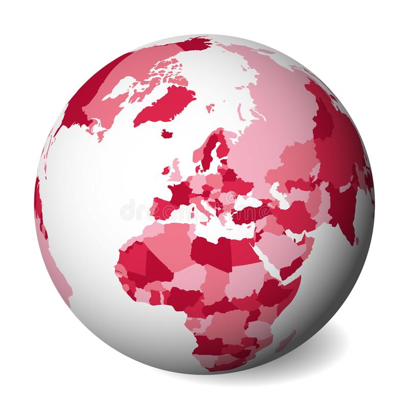 Blank political map of Europe. 3D Earth globe with pink map. Vector illustration.  stock illustration