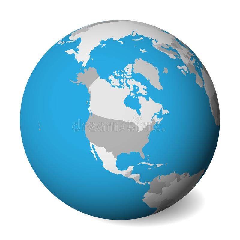 Blank political map of North America. 3D Earth globe with blue water and grey lands. Vector illustration stock illustration
