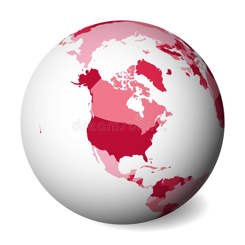Blank political map of North America. 3D Earth globe with pink map. Vector illustration.  vector illustration