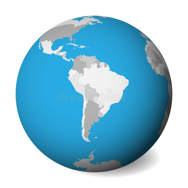 Blank political map of South America. 3D Earth globe with blue water and grey lands. Vector illustration vector illustration