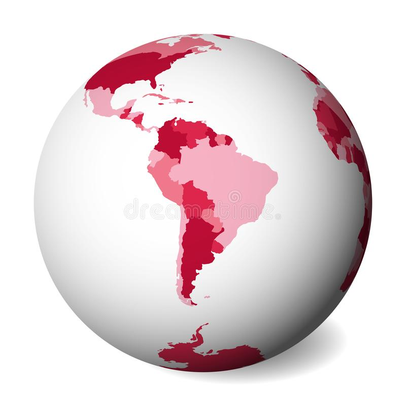 Blank political map of South America. 3D Earth globe with pink map. Vector illustration.  stock illustration