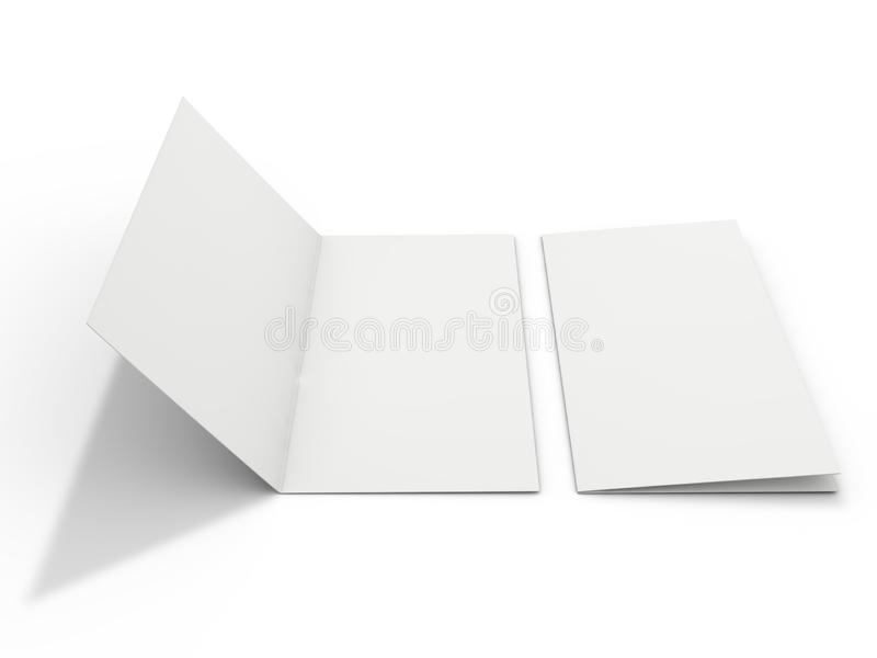 Blank portrait mock-up paper. Brochure, magazine, postcard isolated. 3D stock illustration