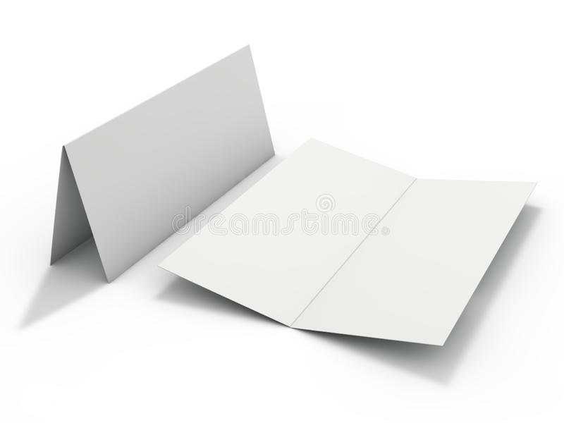 Blank portrait mock-up paper. Brochure, magazine, postcard isolated. 3D vector illustration