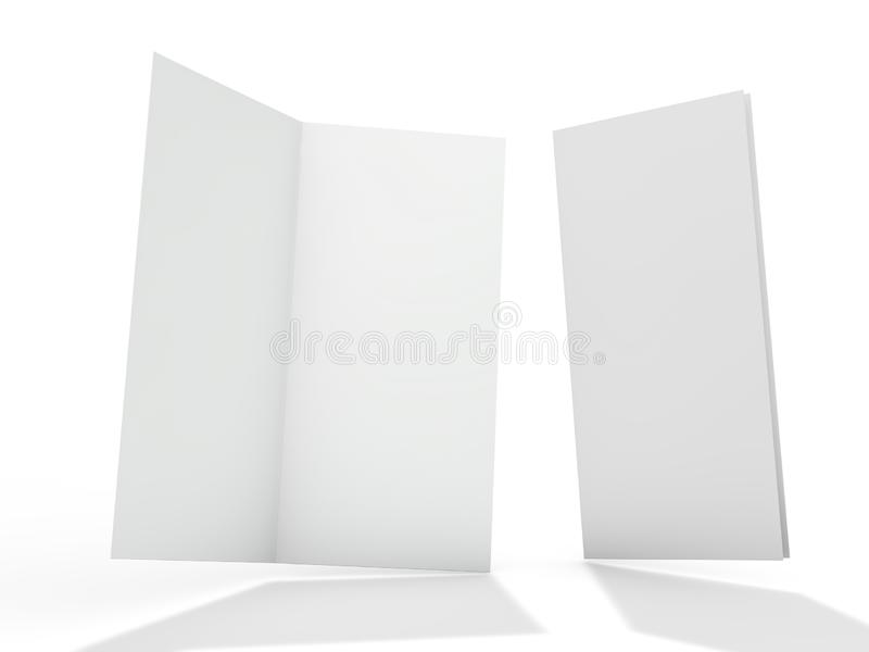 Blank portrait mock-up paper. Brochure, magazine, postcard isolated. 3D royalty free illustration