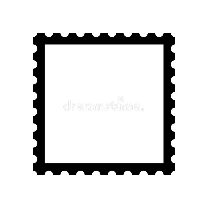 Blank postage stamp. Clean postage stamp template. Postage icon. stock illustration