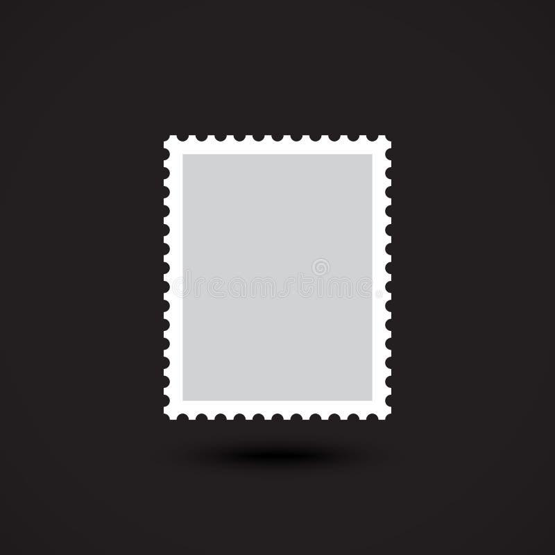 Blank postage stamp flat Icon on black background royalty free illustration