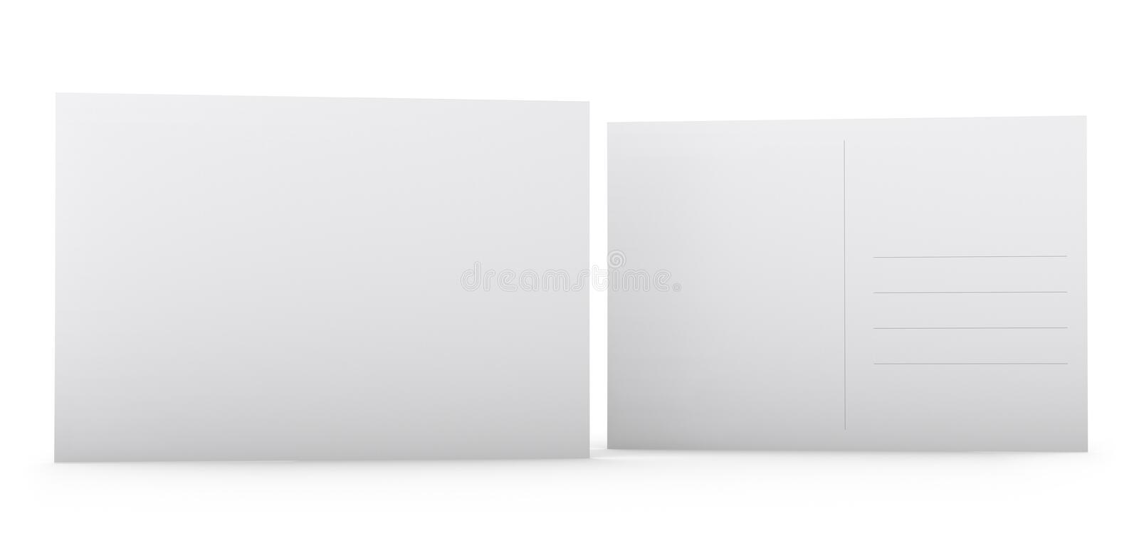 Blank Postcard. Postcard template - blank white front and back sides stock images