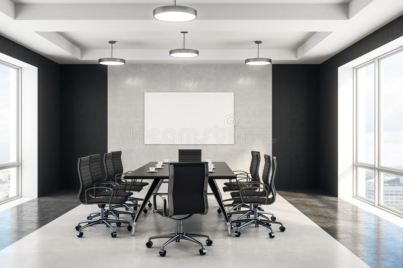 Blank poster in concrete boardroom. Blank white poster in minimal style conference room with concrete wall and floor. 3d rendering royalty free illustration