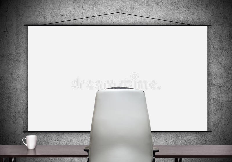Blank poster. Conference room in modern office with blank poster stock photography