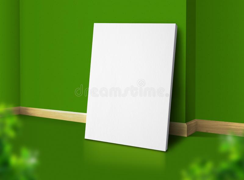 Blank poster at corner natural green studio room with wall and floor background with leaf foreground,Mock up studio room for. Display of design for advertising royalty free stock image