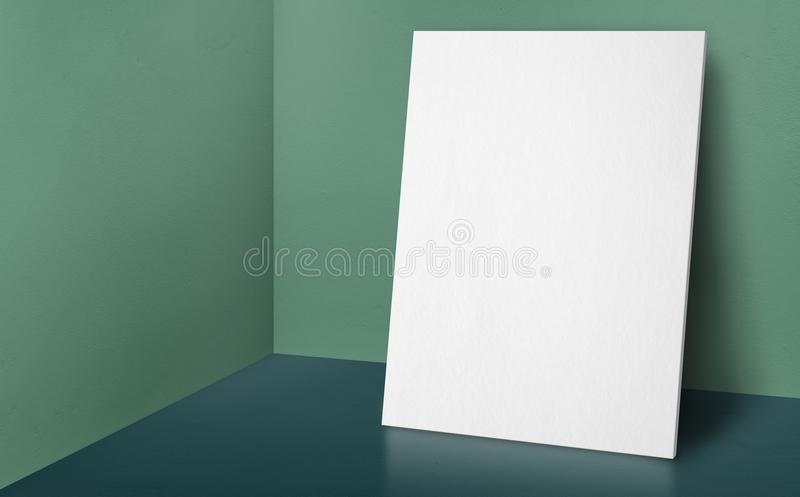 Blank poster at corner pale green wall and dark green floor stu vector illustration