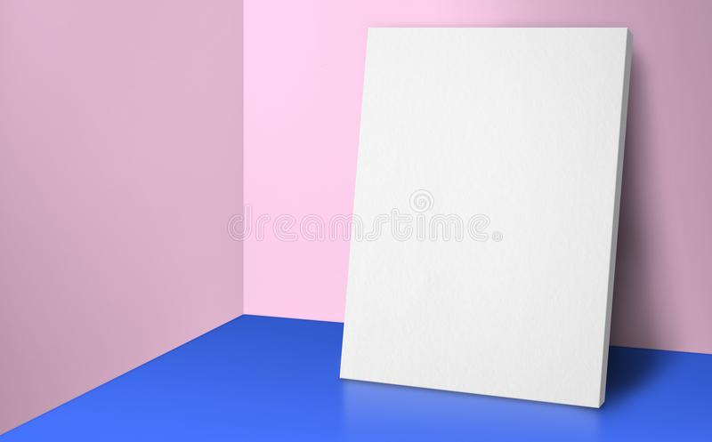 Blank poster at corner pastel pink and blue studio room with wall and floor background,Mock up studio room for display or montage. Of product for advertising on royalty free stock image