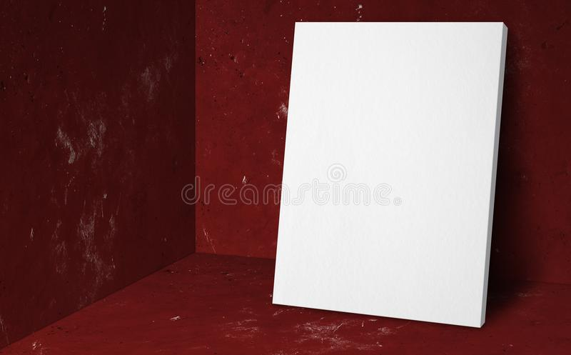 Blank poster at corner red studio room with concrete wall and fl. Oor background,Mock up studio room for display or montage of product for advertising on media stock photo