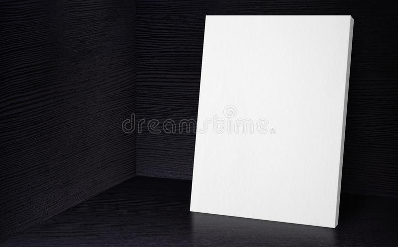 Blank poster at corner studio room with black wooden wall and fl. Oor background,Mock up studio room for display or montage of product for advertising on media royalty free stock images