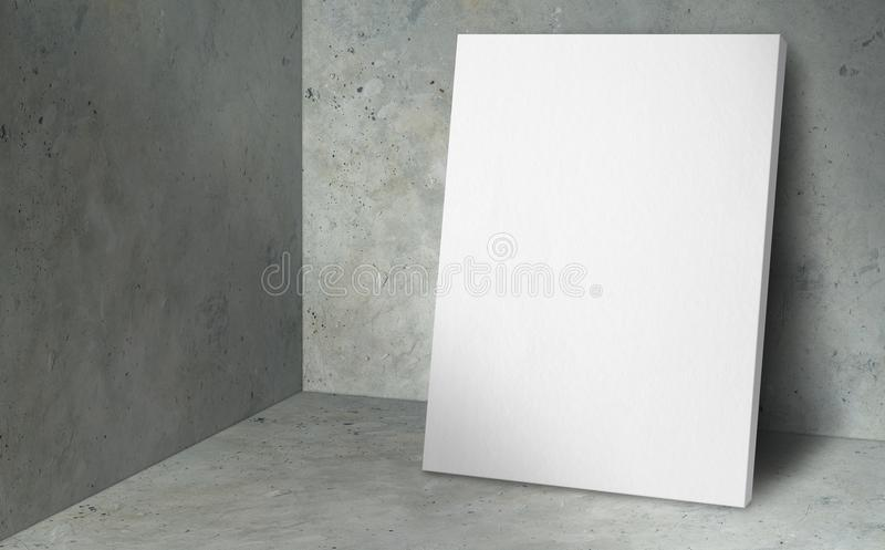 Blank poster at corner studio room with concrete wall and floor. Background,Mock up studio room for display or montage of product for advertising on media royalty free stock photography