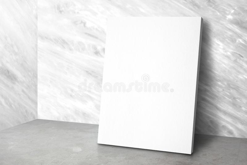 Blank poster at corner studio room with marble wall and concrete floor background,Mock up studio room for display or montage of. Product for advertising on stock photo