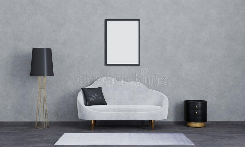 Blank poster frame for mockup.Modern interior of living room for mockup, luxury, loft. Grey sofa, black and gold lamp vector illustration