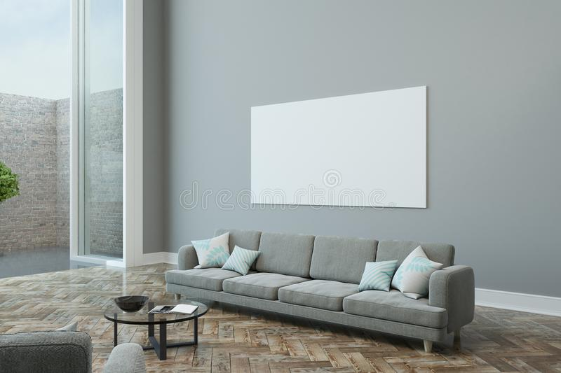 Blank poster on grey wall stock illustration