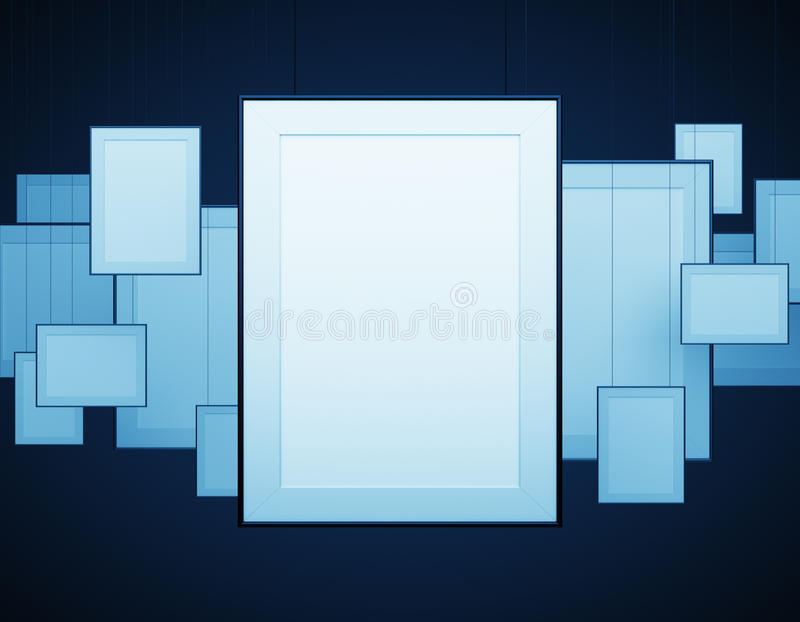 Blank poster. Hanging on a blue background stock image