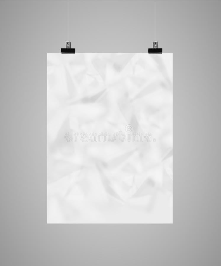 Blank poster. Hanging on clothespins stock photos