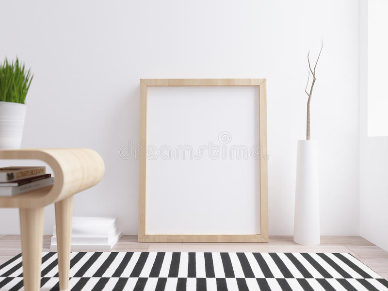 Blank Poster mockup with maple frame on modern scandinavian interior royalty free illustration
