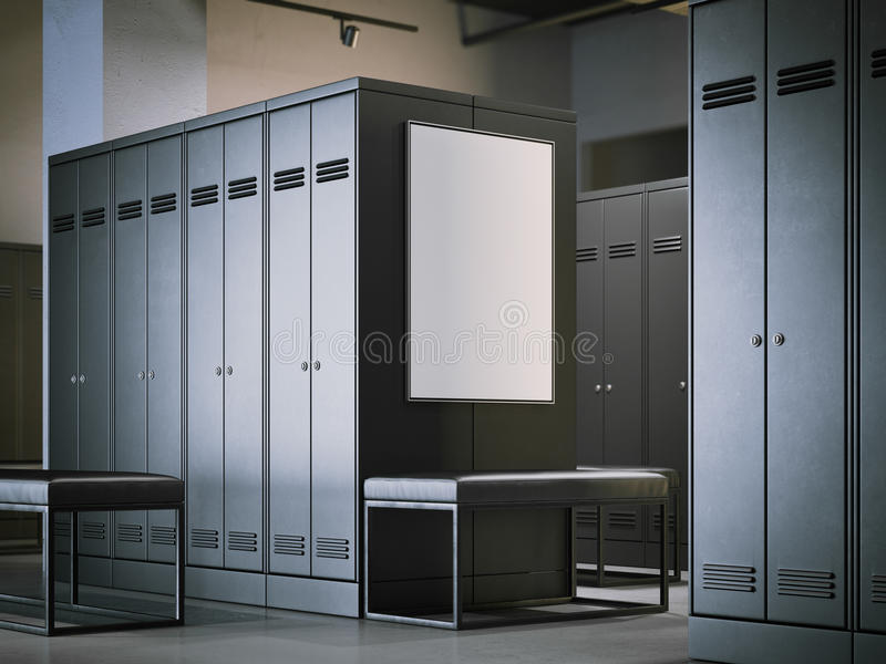 Blank poster in a modern locker room. 3d rendering royalty free stock images