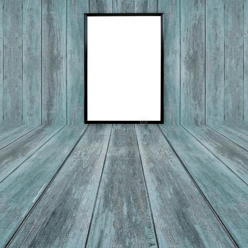 Blank poster photo frame on wood wall. Blank poster photo frame on abstract wood wall stock images