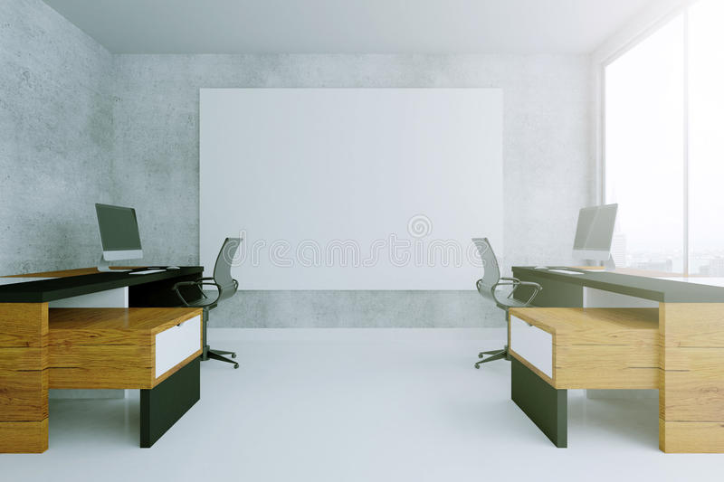 Blank poster and two desks. Concrete interior with blank poster and two workplaces. Mock up, 3D Rendering stock illustration