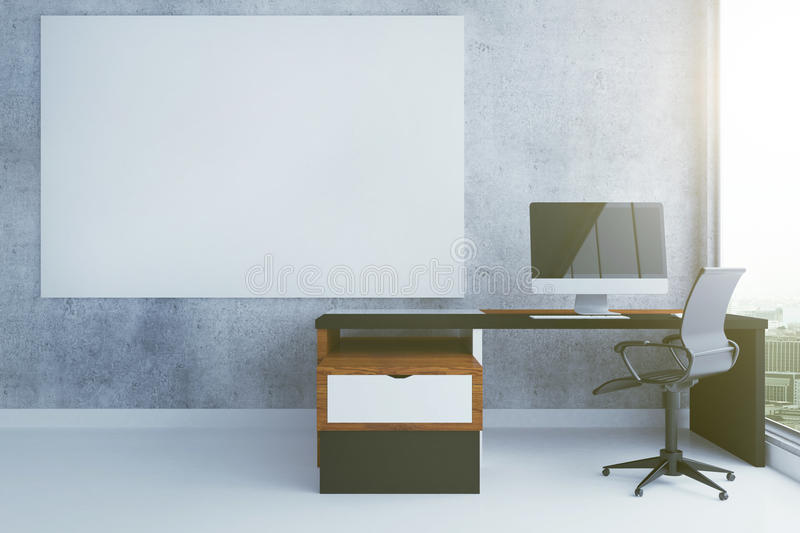 Blank poster and workplace. Concrete interior with blank poster and workplace. Mock up, 3D Rendering vector illustration