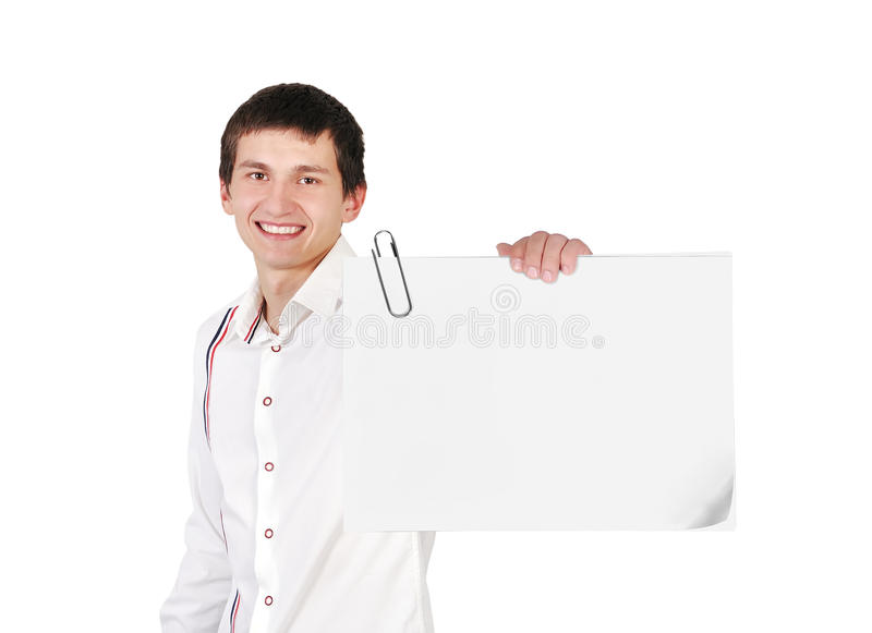 Blank poster. Young guy holding blank poster royalty free stock images