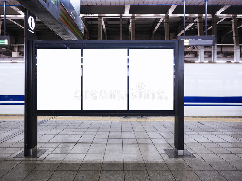 Blank Posters Template Media schedule Information at Train station. Blank Posters Template Media schedule Information Train station background stock image