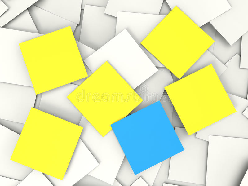 Blank Postit Notes Shows Copyspace Memos And Notices. Blank Postit Notes Showing Copyspace Memos And Notices vector illustration