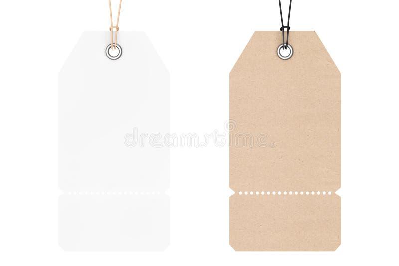 Blank Price Cardboard Tags. 3d Rendering vector illustration