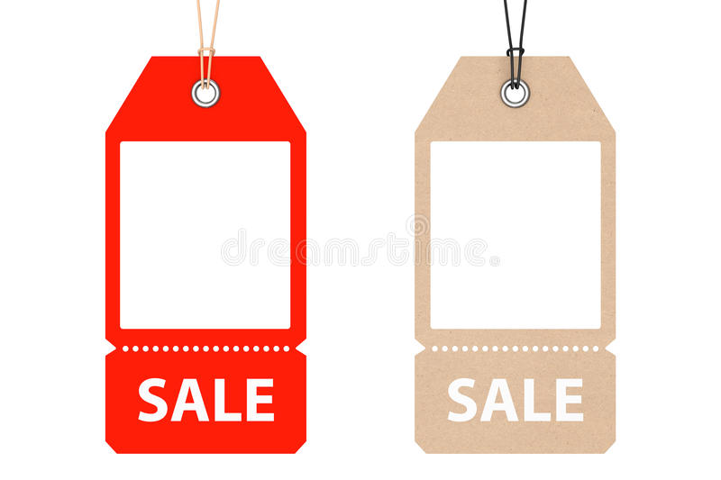 Blank Price Cardboard Tags with Sale Sign. 3d Rendering stock illustration