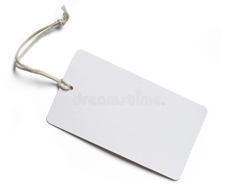 Blank Price Tag on white stock image