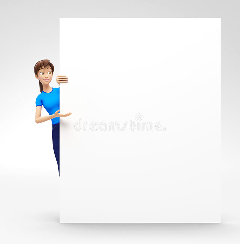 Blank Product Billboard and Banner Mockup Announced by Smiling and Happy Jenny - 3D Cartoon Female Character in Casual Clothes. 3D Rendered Product Mockup with