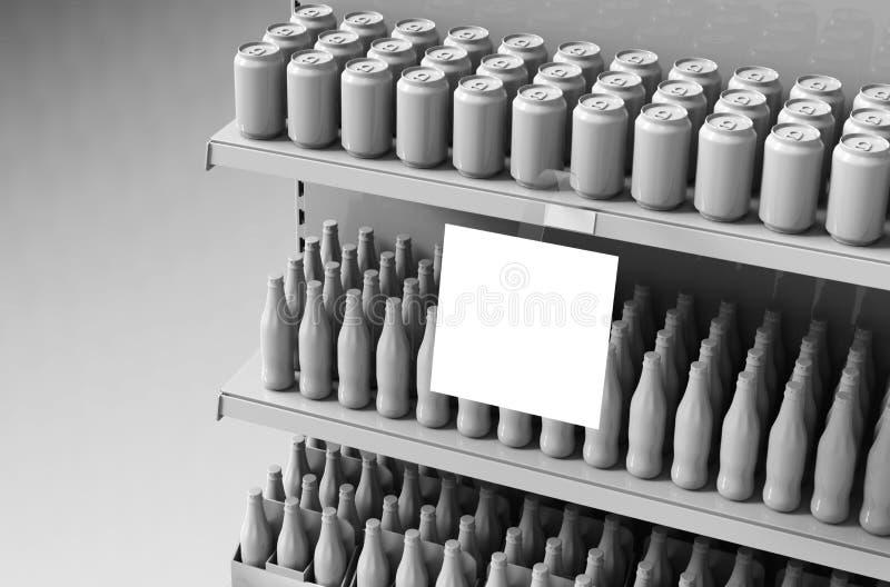 Blank products on supermarket shelves with square wobbler. Mockup. vector illustration